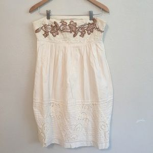 Anthropologie Embroidered Strapless Summer Dress